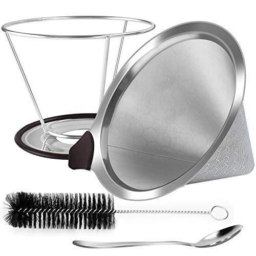 Pour Over Coffee Dripper, Reusable Stainless Steel Coffee Filter with Non-slip Cup Stand, Brush and Spoon, ECO-Friendly Paperless Coffee Maker filters Cone.