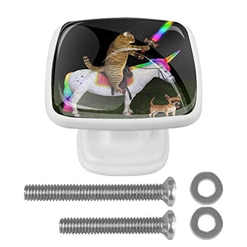 (4 piezas) pomos de cajón para cajones con tiradores de cristal para gabinete de armario, oficina, armario, gato, unicornio, perro, 35 mm