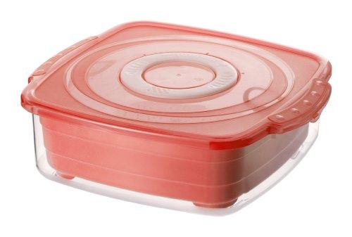 Rotho 1729902203 Mikrowellen-Dampfgarer quadratisch, gesundes und zeitsparendes Kochen, BPA-frei, Inhalt 2 l, circa 23,5 x 21 x 7,5 cm (LxBxH), rot/transparent