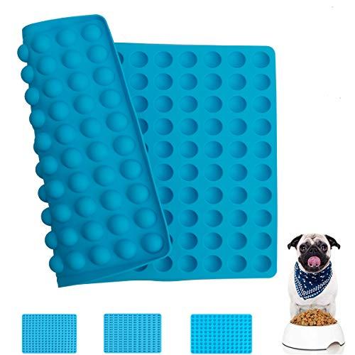 MOMSIV Silikon Backmatte,2cm Halbkugel Silikonmatte für Hundekekse,Hundeleckerlies Pralinenform, Backform,Große Wiederverwendbare Backunterlage für den Backofen und mit Rand,Hundekekse selber backen