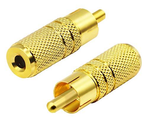 zdyCGTime Adaptador de Audio Chapado en Oro de 3,5 mm a RCA,Enchufe Macho RCA a Adaptador Hembra de 3,5 mm.(1/8 Pulgadas) (3 Polos)