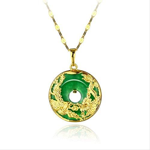 Moda Europea Donna Uomo Festa Compleanno Matrimonio Drago Phoenix Green Jade Collana Con Pendente In Oro 24Kt