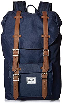 Herschel Little America Flapover Backpack, Navy/Tan Synthetic Leather, Mid-Volume 17L