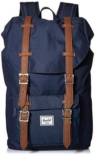 Herschel Little America Laptop Backpack, Navy/Tan Synthetic Leather, Mid-Volume 17.0L