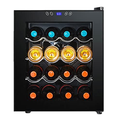 SHENXINCI Vinoteca 16 Botellas, 48 litros de Capacidad, Temperatura Regulable, Panel Táctl, Display Digital, Luz LED, Refrigerador de Té con Almacenamiento de Vino