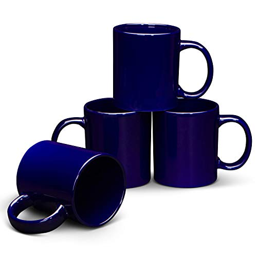 Serami 19oz Cobalt Large Classic Mugs for Coffee or Tea. Large Handle and Heavy Duty Construction, Set of 4