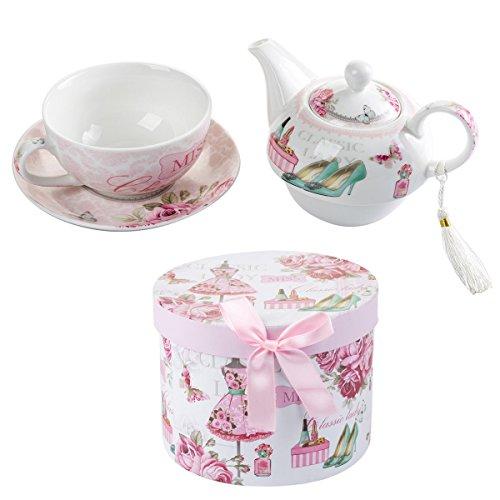 London Boutique Juego de té para una Tetera de Porcelana Vintage con diseño de Flora Rosa y Lavanda (Dama clásica)