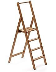 Arredamenti Italia AR_IT- 180/4 Kimora ladder met 4 treden, inklapbaar, massief beukenhout, kersenrood