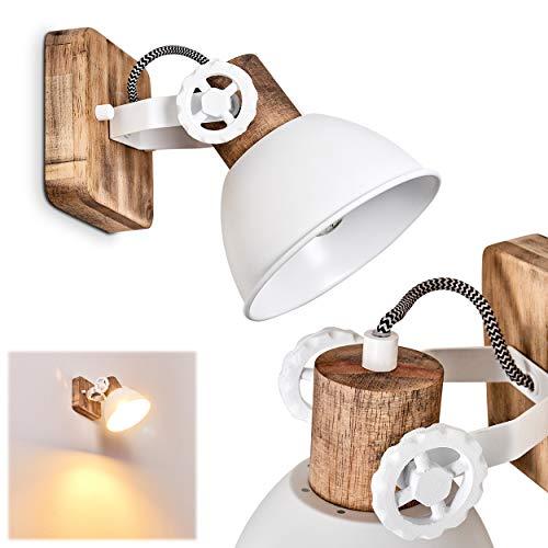 Wandleuchte Orny, verstellbare Wandlampe aus Metall/Holz in Weiß/Braun, 1-flammig, 1 x E27-Fassung max. 60 Watt, Wandspot im Retro/Vintage Design, für LED Leuchtmittel geeignet