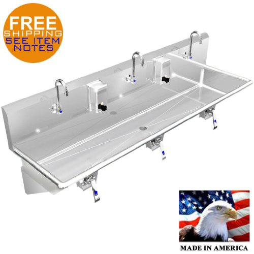 """MULTI STATION 3 WASH UP HAND SINK 72"""" KNEE VALVE STAINLESS STEEL MADE IN AMERICA"""