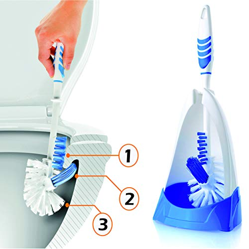 Rigorous Team Toilet Brush and Holder- 3 Functioned Toilet Bowl Cleaner Brush, Now Very Easy Under The Rim Cleaning. Strong Bristles, Good Grips. Toilet Bowl Brush