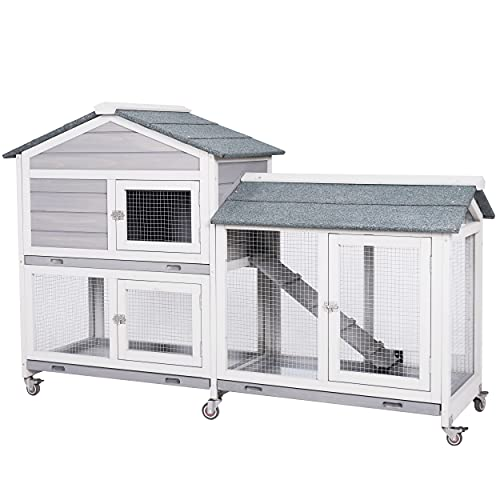 MUPATER Wooden Rabbit Hutch Bunny Cage for Indoor and Outdoor with Casters, Large Guinea Pig House Hamster Hedgehog Cage with Ramp, Run and Removable Trays, Mixed Grey