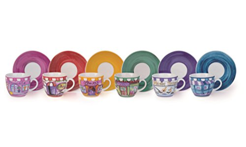 Molecuisine Kaffeetassen-Set mit Untertasse, 6 Stück Shops 90 cl mehrfarbig