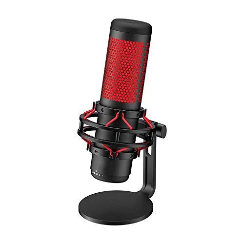 QCHEA Micrófono de Juego de Condensador USB, for PC, PS4 y Mac, antivibración Shock Mount, Cuatro Patrones Polares, Filtro de Pop, Control de Ganancia, Podcasts, Twitch, You Tube, discordia, LED Rojo
