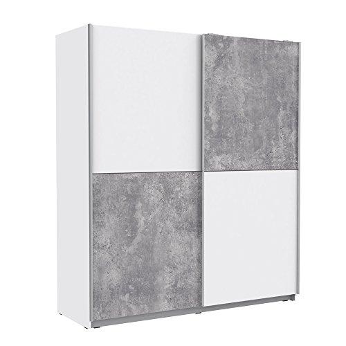 FORTE  Schwebetürenschrank mit 2 Türen, Holz, Weiß + beton, 170.3 x 61.2 x 190.5 cm