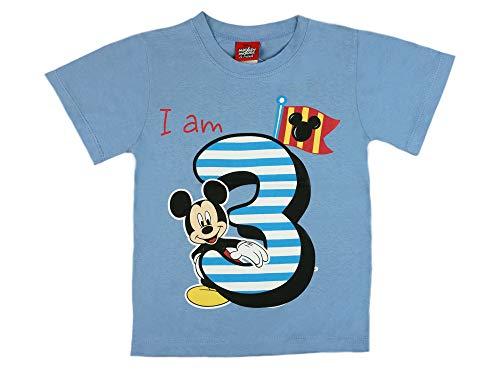 Jungen Baby Kinder dritter Geburtstag Kurzarm T-Shirt 3 Jahre Baumwolle Birthday Outfit GRÖSSE 98 104 Mickey Mouse Disney Design in Weiss oder Blau Babyshirt Oberteil Hemd Polo Farbe Blau, Größe 104