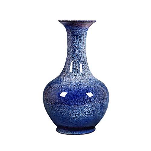 SHUNFAYOUXIANGS Vase Jarrón Estilo Chino Flor Vintage Flor seco Arreglo de Flores Decoración del hogar Adornos Azul Jarrón de cerámica Azul Jarrón de Escritorio decoración