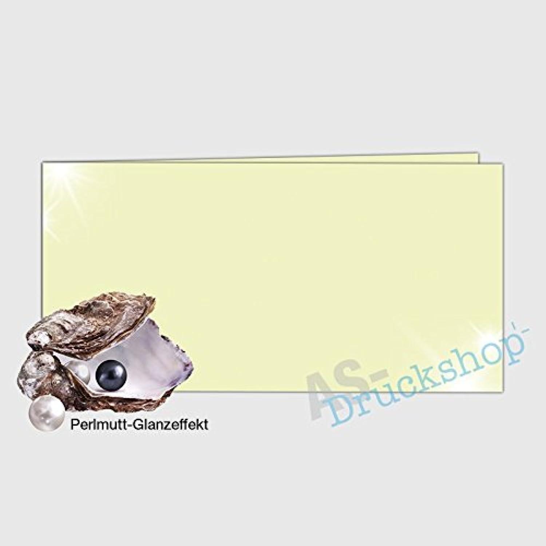 Faltkarte   Doppelkarte DIN-Lang -  Pistache  - mit Perlmutt-Glanz - 50 Stück B01MS4ZZ8D   | Kostengünstiger