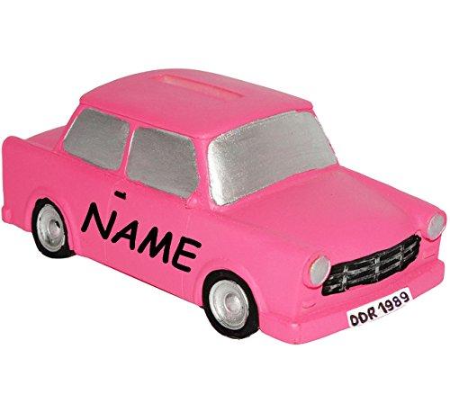 alles-meine.de GmbH Spardose -  Oldtimer / Auto - ROSA - PINK  - incl. Name - stabile Sparbüchse aus Kunstharz / Polyresin - Nostalgie Fahrzeug Sparschwein lustig Führerschein ..