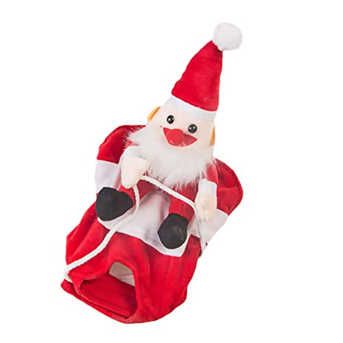 Balacoo Perro Santa Claus Traje de Montar Navidad Mascota Vaquero Jinete Caballo Gatos Atuendo Ropa Ropa Vacaciones de Navidad Vestir Accesorios de Ropa