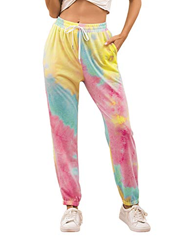 PUWEI Unisex's 3D Printed Cuffed Tie Dye Loose Jogger Sweatpants Lounge Pants (0972-01RoseRed-L)
