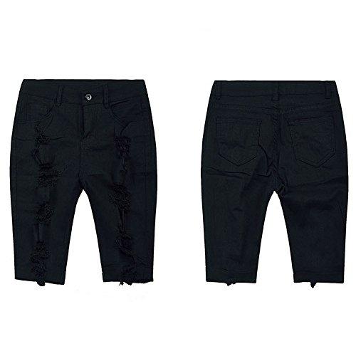 Aiserkly Damen Casual Denim Zerstörte Bermuda Shorts Jeans Schwarz l
