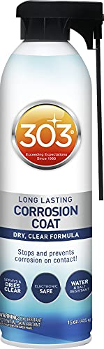 303 Marine Long Lasting Corrosion Coat - Dry, Clear Formula - Stops And Prevents Corrosion On Contact - Electronic Safe - Water And Salt Resistant, 15 fl. oz. (30396)