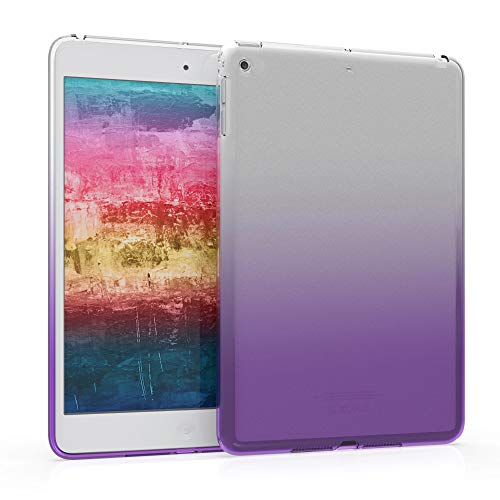 kwmobile TPU Silicone Case Compatible with Apple iPad Mini 2 / iPad Mini 3 - Soft Flexible Shock Absorbent Cover - Bicolor Violet/Transparent