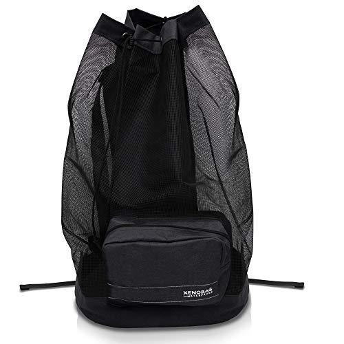 XENOBAG Netz Rucksack XXL in Schwarz oder Blau/Netzbeutel, groß für Tauch-, Schnorchel- oder Sportausrüstung / 95L Mesh Bag z.B. für Masken, Flossen, Schnorchel (ABC Ausrüstung) u. Neopren (SCHWARZ)