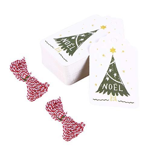 Amosfun 102 stücke gemalt hängen Tags mit 10 mt Gewinde Seil DIY hängen Tags Weihnachtsbaum Muster Papier hängen Ornament für DIY Handwerk Hause Weihnachten (100 stücke Tags, 2 10 mt Gewinde)