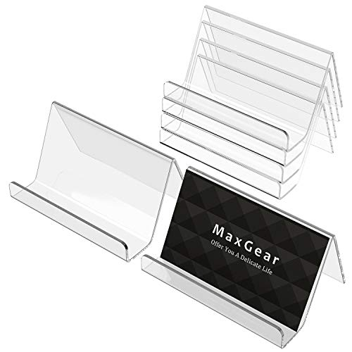 MaxGear Business Card Holder for Desk Acrylic Business Card Display Holders Clear Business Cards Holder Stand 6 Pack Desktop Plastic Name Card Organizer, Capacity: 50 Cards