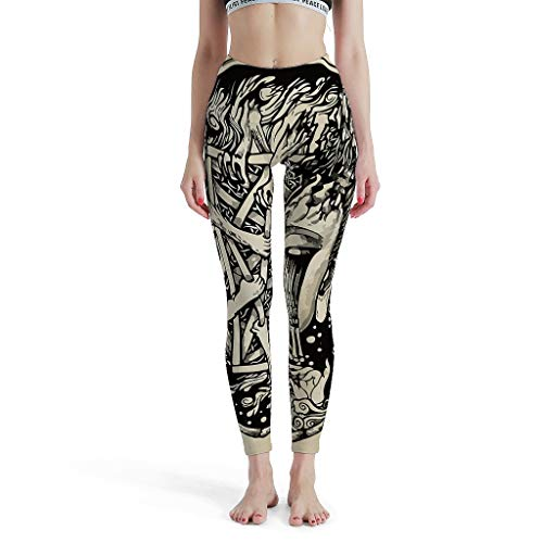 Dofeely Damen Buddha Yoga Hose Comfort Casual Leggings High Waist Buddha Head Muster Jogginghose S-XL