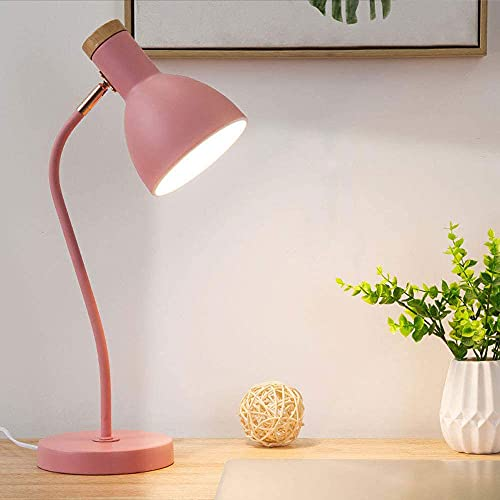 Einfache Nordische Verstellbare Tischlampe, Knopfartige Augenschutz-Schreibtischlampe, Schwarz/Weiß/Rosa/Blau Dekorationsleuchte, Schlafzimmer-Leselampe (Color : Pink)