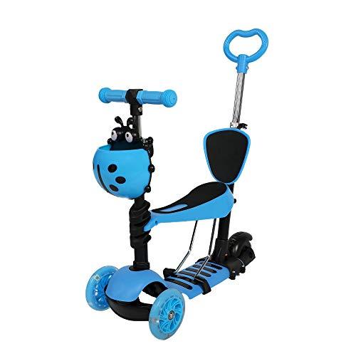 COSMOLINO Scooter per Bambini 5 in 1, Scooter per Bambini, Scooter, Monopattino con Sedile Rimovibile Regolabile e Maniglia di Spinta, Ruote Lampeggianti a LED per Bambini (Blu)