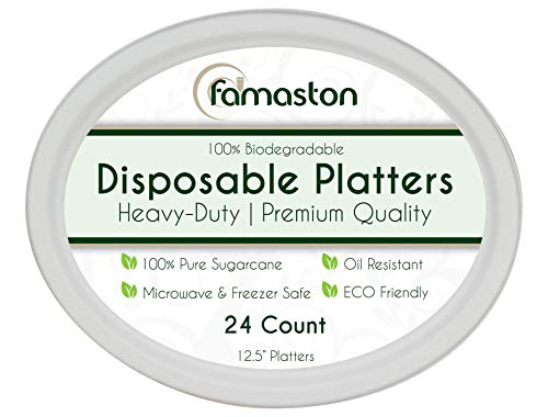 100% Compostable White Oval 12.5-inch Paper Platters, 24-Plates, Heavy-Duty Premium Quality Disposable Dinner Plate