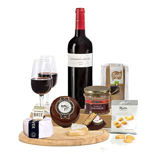 Hay Hampers -Rioja Red Wine, French Pate, Two Cheeses with Crackers Hamper Box- FREE UK Delivery