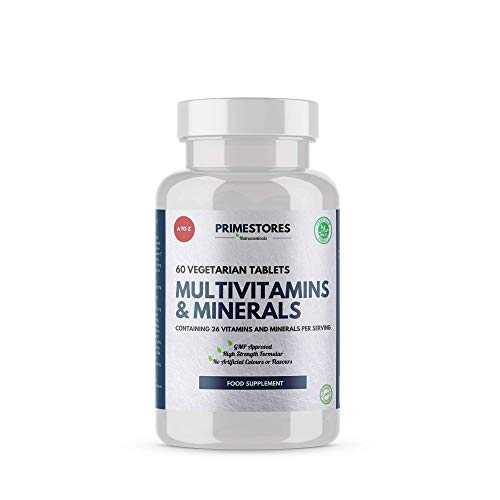 Multivitamin Tablets for Men and Women - Multivitamins and Minerals for Adults with Iron, Zinc, Magnesium, Vitamin B, C, D, E, K - 60 High Strength Vegetarian Pills by Primestores