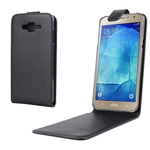 GBHGBH ES Nappa Textura Vertical Flip Funda magnética de Cuero a presión for Samsung Compatible con Galaxy J7 (Color : Black)