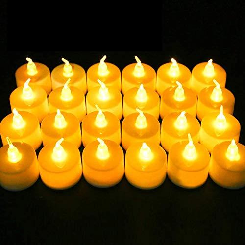 Vela LED, 24 PC Luces de Té sin Llama Velas, Luz de Té con Baterías, Llama LED Parpadeante, Led de Té Eléctricas Perfectas para Navidad, Halloween, Pascua, Boda, Restaurante, Cumpleaños, Decoración
