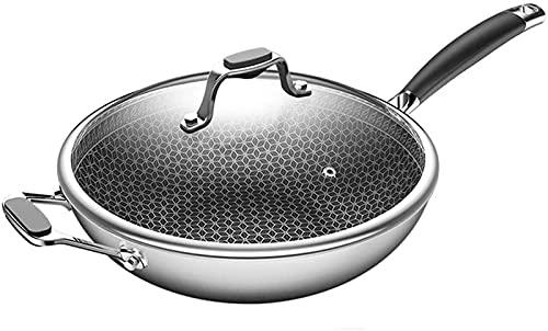 Sartenes para cocinar OLLA DE ACERO INOXIDABLE con mango resistente al calor wok de acero inoxidable multifunción para electrodomésticos de cocina 30CM (Tamaño: 32cm)