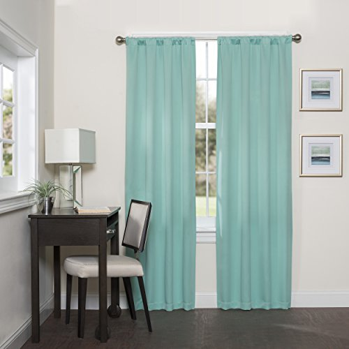 """ECLIPSE, Mint Blackout Curtains for Bedroom-Darrell 37"""" x 84"""" Insulated Darkening Single Panel Rod Pocket Window Treatment Living Room"""