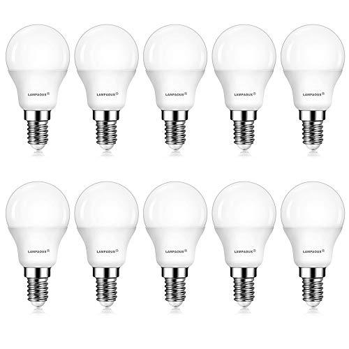 Lampaous 5w P45 E14 ampoule led, équivalent aux ampoules incandescent de 40w, blanc froid 6000k,lot de 10.