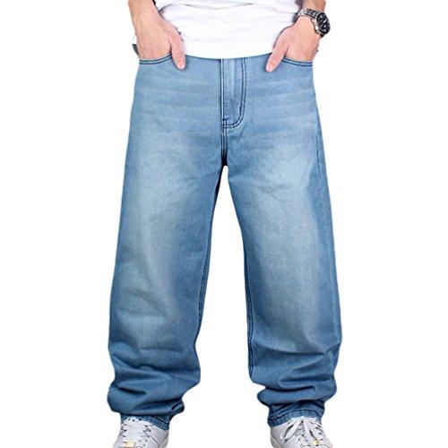 Dexinx Uomo Ragazzi Solido Semplice Pantaloni di Colore Allentato Jeans Estate Urbano Ballo di Strada Denim Lunghi Azzurro 30