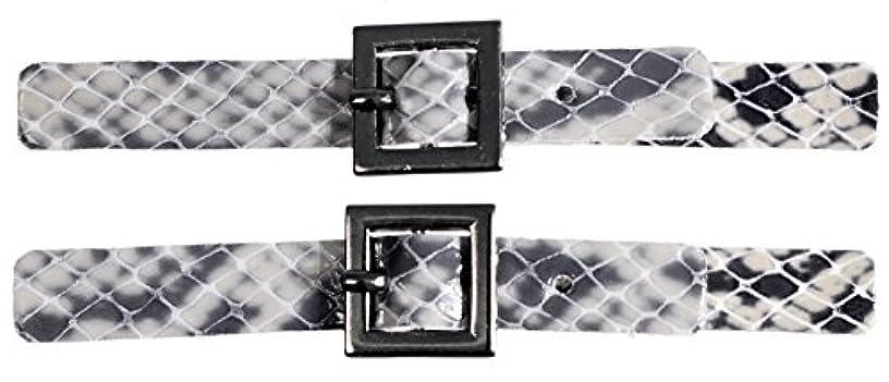 Mibo Sew On Faux Leather Tab Closure 1cm x 9cm ajustable Imitation Snake Skin Grey with Square Gunmetel Buckle 2 Pack