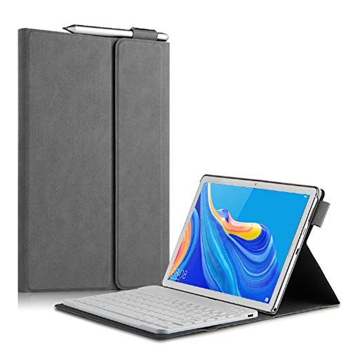 QYiD Huawei MediaPad M6 10.8' Keyboard Case, Folio PU Leather Stand Case Cover with Magnetically Detachable Wireless Keyboard for Huawei M6 10.8 inch 2019, Gray