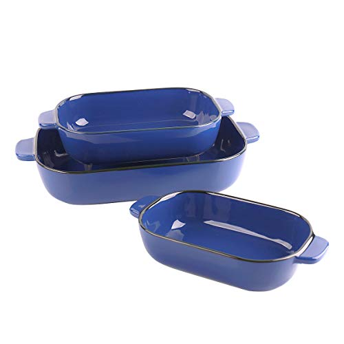 Kvv Ceramic Bakeware Set of 3 Piece Retangular Baking Pan,Baking Dishes, Lasagna Pans for Cooking, Kitchen, Cake Dinner, Banquet and Daily Use, 13 x 9 Inches Valentine's Day Gift(Blue)