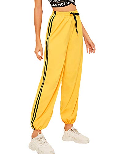 SweatyRocks Women's Lightweight Quick Dry Striped Side Jogger Sweatpants with Pocket Yellow XL