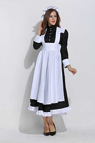 KOGOGO Victorian Maid Costume Colonial Women Dress with Apron,X-Large Black