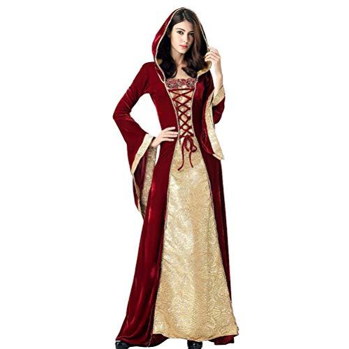 Amosfun 1 Pieza de Traje Medieval irlandés Chemise y Vestido de Halloween Vestidos de Corte Retro Europeos de Halloween