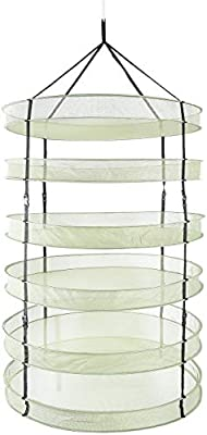iPower GLDRYRD3L6V1 3ft 6 Layers Collapsible Breathable Mesh Herb Drying Rack for Buds & Hydroponic Plants with Sturdy Support, Heavy Duty Hang Dryer Net